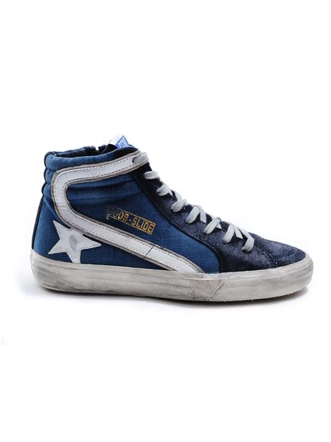 golden goose deluxe brand sneakers slide in blue for