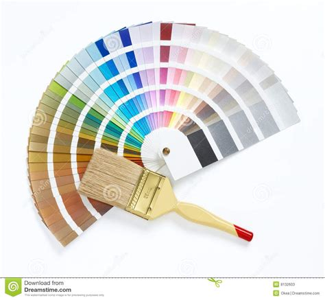 paint brush and color chart stock photos image 8132603