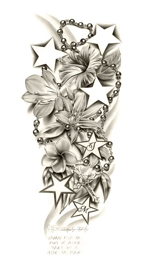 lily flowers and stars with rosary tattoo design