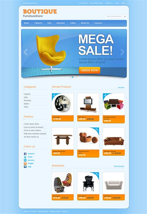 online shop css template for furniture and interior web design