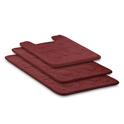 Buy Byzantine 3 Piece Memory Foam Bath Rug Set In Burgundy Memory Foam Bathroom Rug Set