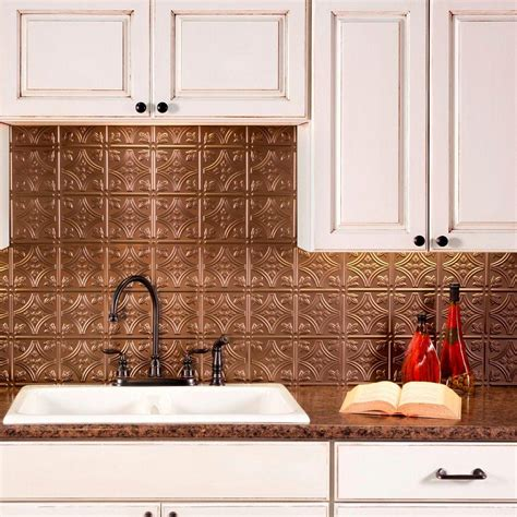 Fasade 18 In X 24 In Traditional 4 Pvc Decorative Pvc Backsplash Panel