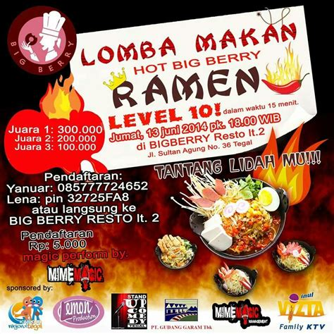 Mie Ramen Tegal lomba makan big berry ramen level 10 di big berry resto tegal info tegal