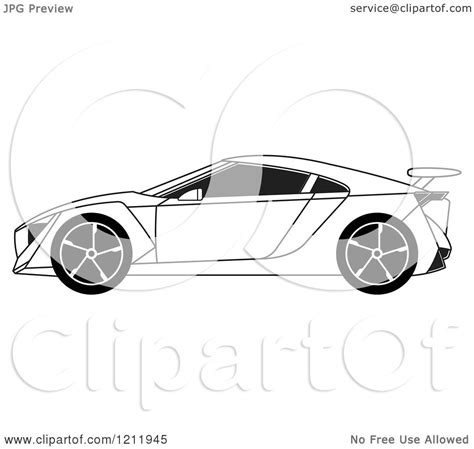 cartoon sports car black and white clipart of a black and white sports car royalty free