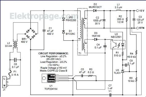 Fa5304 Bipolar Ic For Switching Power Supply top204 15v switching power supply circuit schematic circuits elektropage