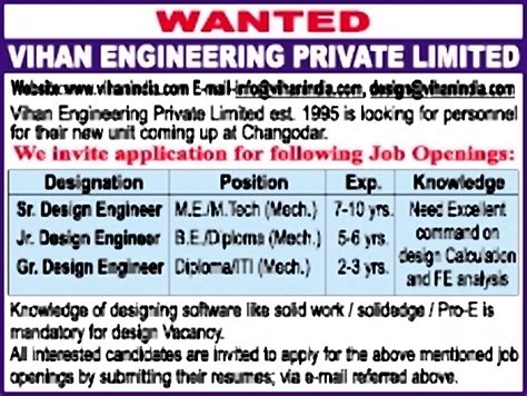 design engineer job in gujarat jobs in vihan engineering pvt ltd vacancies in vihan