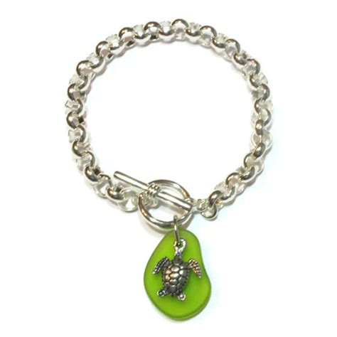 seaglass turtle charm bracelet by basic spirit gifts canada