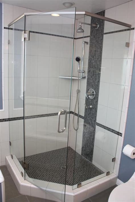 Neo Shower Door Framelss Neo Angle Shower Door Installed With Square Satin Nickel Hardware And Header Including