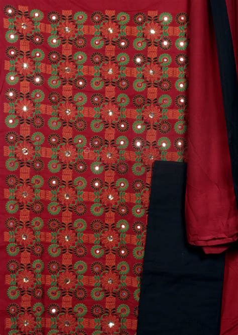 gujrati pattern kurti maroon gujarati salwar kameez fabric with embroidered
