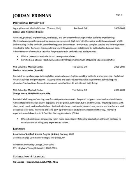 Resume Sles For Emergency Nurses Er Resume Exle