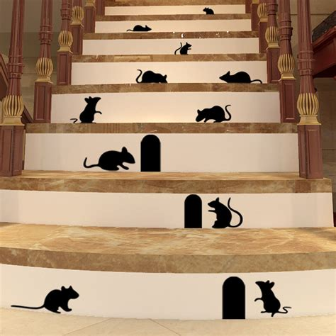 decorative decals for home diy funny art graffiti rat hole floor stair stickers art