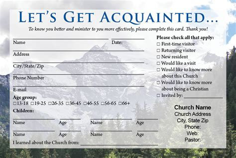 church contact card template visitor cards printing calvary publishing