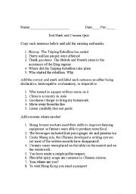 printable comma quiz english teaching worksheets commas