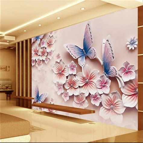 large flower wall murals 3d photo wallpaper relief murals tv backdrop butterfly orchid flowers 3d large wall