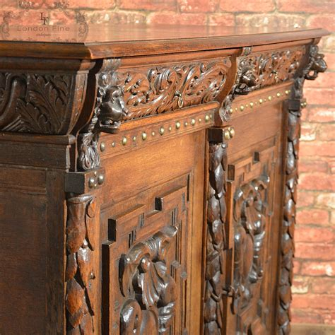 Antique Belgian Sideboard, Carved Oak Cabinet, 19th Century, Credenza, Cupboard For Sale