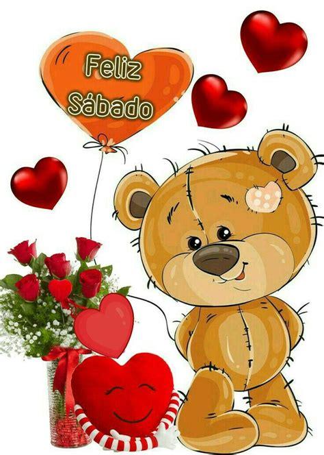 feliz sabado oso animado corazones  flores dinner