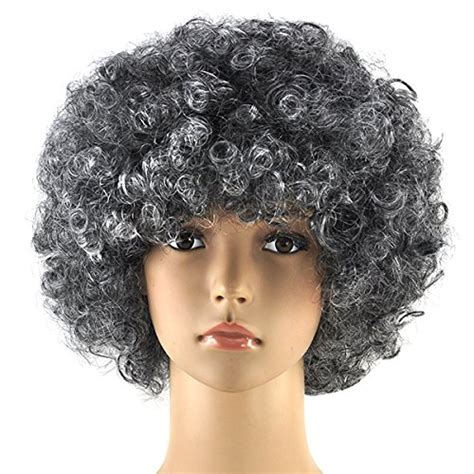 perm afro american gray hair topro curly clown funky disco wig fancy dress costume