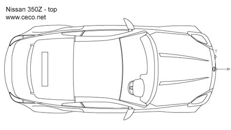 Drawing Z In Autocad by Autocad Drawing Nissan 350z Sports Car Top View Dwg