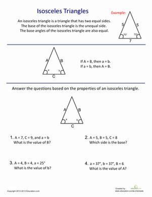 Introduction To Geometry Worksheet by Introduction To Isosceles Triangles Worksheet