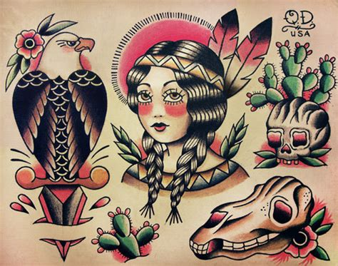 old school tattoo indian girl native indian theme traditional tattoo designs