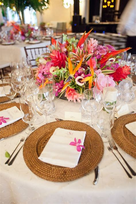 bold tropical floral reception table centerpiece food tropical wedding centerpieces