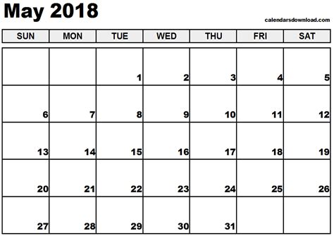 printable calendar for may 2018 may 2018 printable calendar calendar printable free