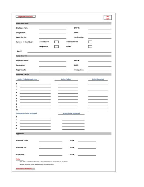 employee handover document template handover note form