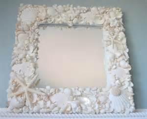 shell bathroom mirror decor white seashell mirror nautical decor shell