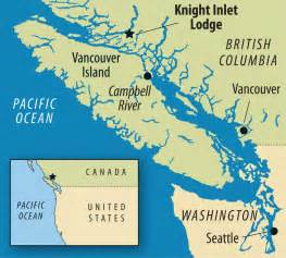 Map shows the location of the knight inlet lodge british columbia
