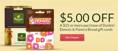 Gift Cards Rite Aid - rite aid get 5 off panera or dunkin donuts gift cards first 10 000 mylitter