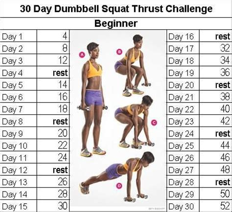 40 day health challenge fitness challenge dumbbell squat thrust 30 day fitness