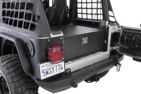 jeep wrangler storage smittybilt 2761 security storage vault for 87 06 jeep