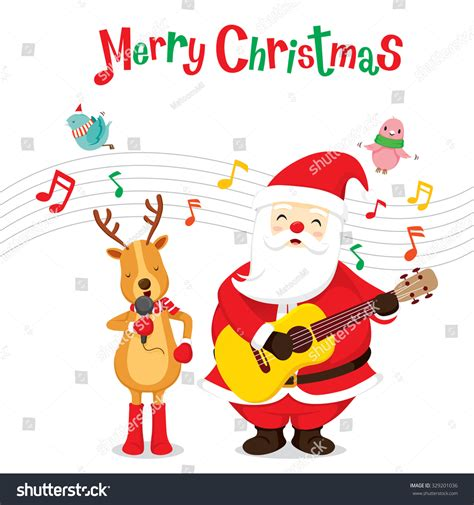 Topi Santa Sinterklas Natal Merry Christmast Happy New Year reindeer santa claus singing guitar stock vector 329201036
