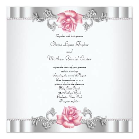 pink and silver wedding invitations pink roses silver white pink wedding invitation zazzle