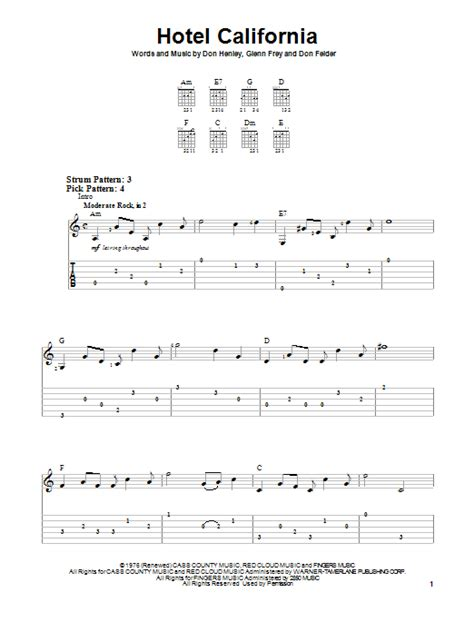 printable lyrics hotel california hotel california sheet music by eagles easy guitar tab