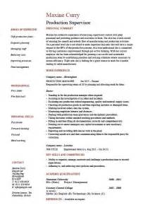 Production Supervisor Resume Sle Exle Template