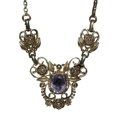 ornate designed gf necklace w amethyst pendant from
