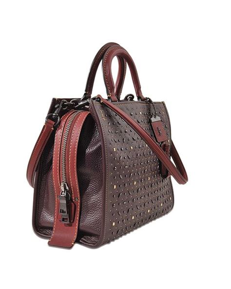 Rogue 25 In Glovetanned Pebble Leather Colorblock Snake 59235 Pink coach rivets rogue bag in multicolour lyst