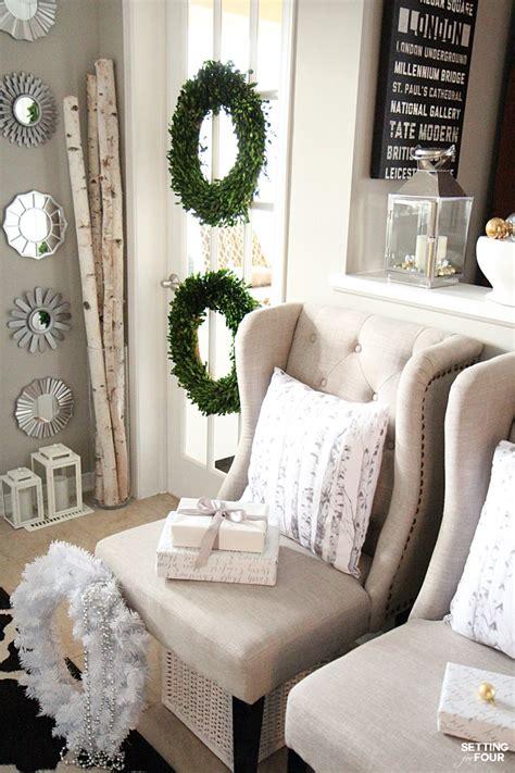 elegant and neutral christmas foyer setting for four elegant and neutral christmas foyer setting for four