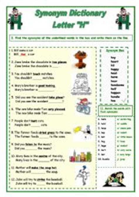 Support Letter Synonym Exercises Vocabulary Exercise Letter A