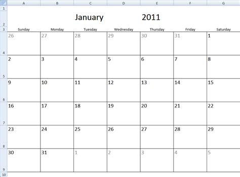 excel monthly calendar templates monthly calendar template in excel