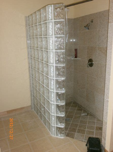 glass block showers small bathrooms doorless shower bathroom up pinterest