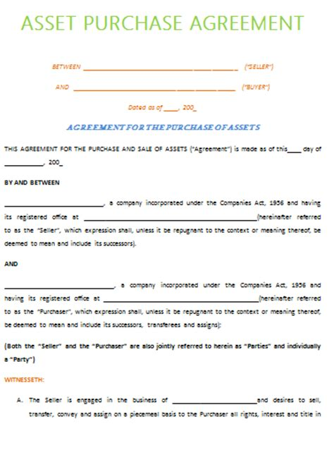 Real Estate Buy Sell Agreement Template asset purchase agreement template best example