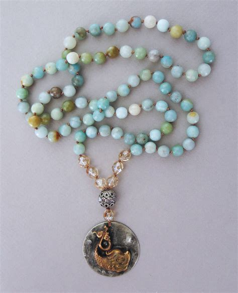 Handmade Pendant - handmade boho amazonite necklace with koi pendant