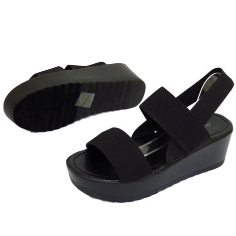 Sandal Elastis Black black strappy elastic wedge platform peep toe