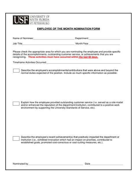 Employee Employee Of The Month Nomination Form Nomination Form Template