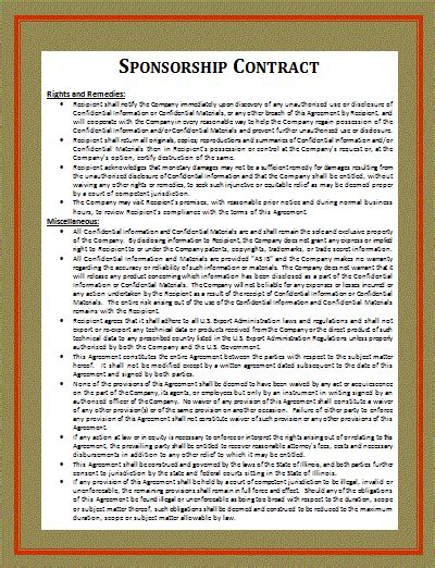 endorsement agreement template free race sponsorship agreement template software