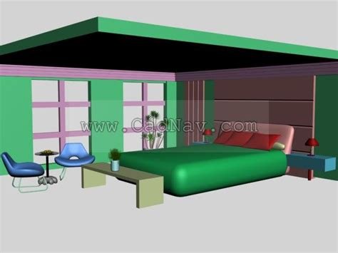3d max bedroom brown feature wall