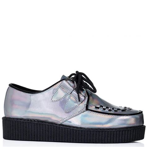 buy josephine lace up platform creeper shoes silver