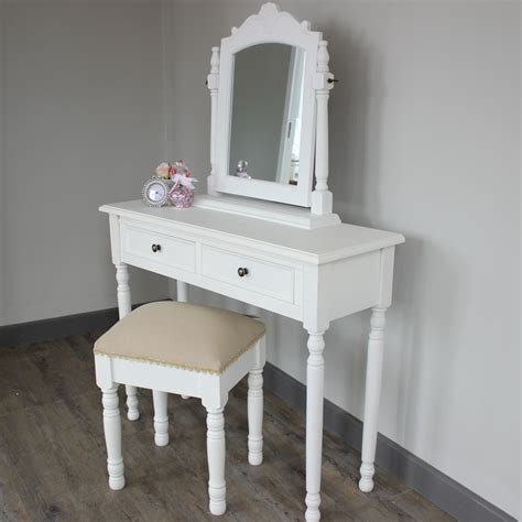 white bedroom dressing table white dressing table stool and swing mirror shabby chic